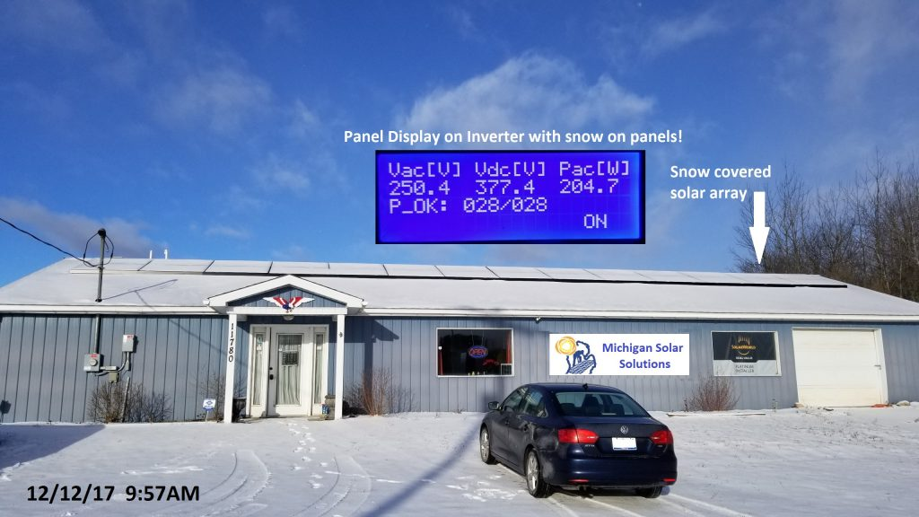 Do Solar Panels Work in the Snow?  YES! - Blog Michigan Solar Solutions - MSS-Riverdale-office-solar-panels-with-snow-12_12_17-1024x576